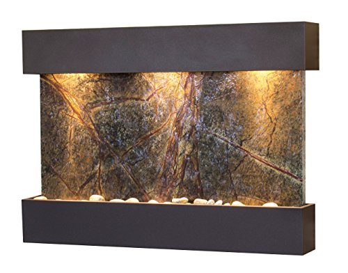 Reflection Creek Water Feature with Antique Bronze Trim and Square Edges (Green Marble)