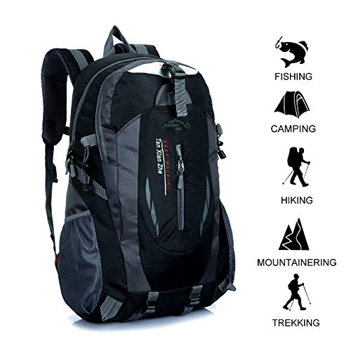 GOHYO Hiking Backpack 40 L Waterproof Ultra Lightweight Trekking Rucksack Internal Frame Backpack Outdoor Sport Daypack Outdoor Travel Hiking Climbing Camping Mountaineering (Black, 40L)