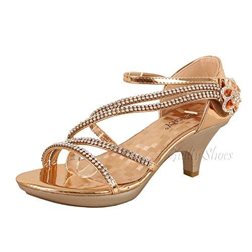 e80a877c5da0 Galleon - Delicacy Womens Strappy Rhinestone Dress Sandal Low Heel Shoes  Heeled Sandals