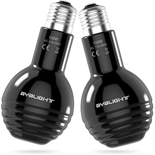 BYB Pack of 2 Ceramic Infrared Heat Emitter, Ceramic Heat Bulb with Super Wide Heating Area for Chicken Cooper Brooding and Live Stock 100W (Black) by BYB