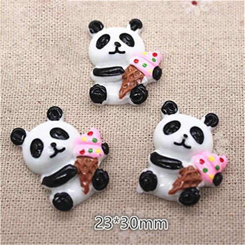 10Pcs Kawaii Resin Panda Eating Fruits/Ice Cream/Bamboo Miniature Flatback Cabochon Art Supply DIY Craft Decoration 10pcs1 ()