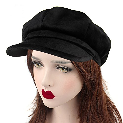 HowYouth Unisex Mens Womens Ladies 8 Panel Vintage Velvet Cabbie Beret Flat Cap Bakerboy newsboy Gatsby Driving Beret Hat (Black)
