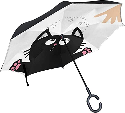 Cute Black Cat Figures on White Backdrop Playful Friendly Animals Posing Domestic Pets Dec Reversible Folding Double Layer SCOCICI Reverse Inverted Inside Out Umbrella