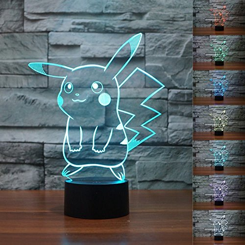 3D Illusion LED Night Light,7 Colors Gradual Changing Touch Switch USB Table Lamp for Holiday Gifts or Home Decorations (Pokemon Pikachu)