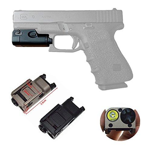 (HWZ High Lumen Pistol Mini Light Tactical Military Airsoft Hunting Flashlight Used in Glock (DE&BK) (BK))