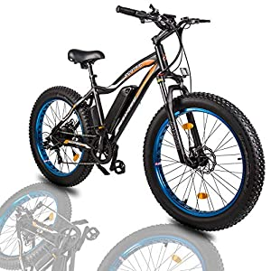 "ECOTRIC 26""Powerful Fat Tire Electric Bicycle Mountain Bike 500W Motor 36V/13AH Removable Lithium Battery Ebike Beach Snow Shock Absorption"