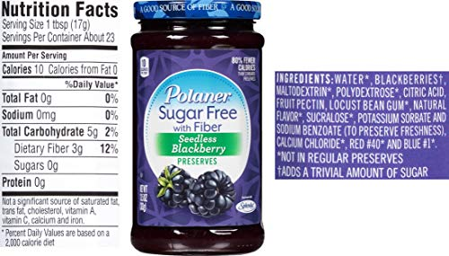 Polaner Sugar Free Preserves 13.5 Ounce Variety, Blackberry, Raspberry, Strawberry with By The Cup Spreader