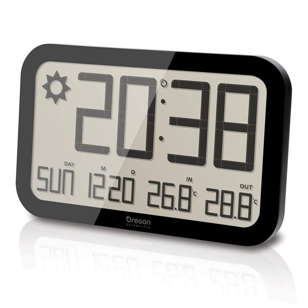 Oregon Scientific JW108 - Reloj de Pared Inalámbrico con Pronóstico del Tiempo, Termómetro y Sensor remoto, negro: Amazon.es: Hogar