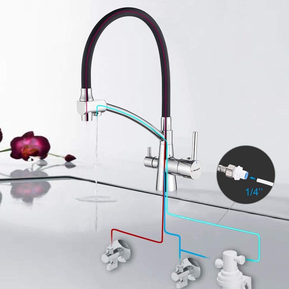 Grifo de cocina monomando cromo ca/ña negra abatible 4,5 cm y ducha extraible 2 chorros