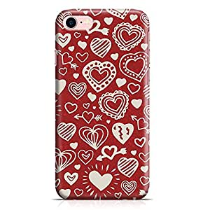 Loud Universe Valentines Gift Love Heart Pattern New Transparent Edge Durable Wrap Around iPhone 7 Case - Red