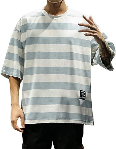 Sylar Camisetas Hombre Manga Corta Camisetas Cuello Redondo De Moda para Hombre Casual Camiseta De Estampado Rayas Manga Corta Camiseta Hombres Nuevo Verano T-Shirt: Amazon.es: Ropa y accesorios