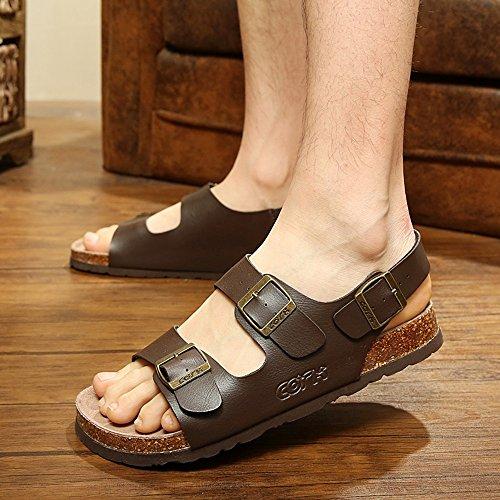 Molle Pantofole Di Da Le Grandi Haizhen Romano Sandali Legno Per Scarpe bianco nero Uomini Marrone Donne E Estate marrone Donna Dimensioni qwq0xrpf
