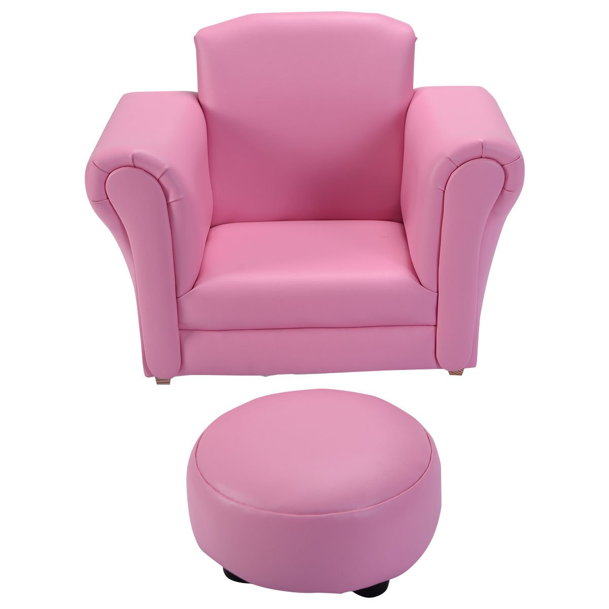 Pink wood frame+PU Kid Armchair With Ebook