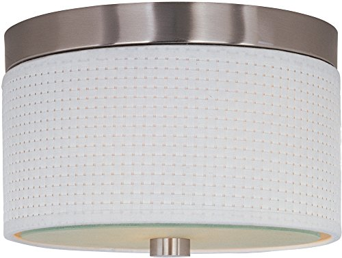 ET2 E95000-100SN Elements 2-Light Flush Mount, Satin Nickel Finish, Glass, MB Incandescent Incandescent Bulb, 80W Max., Dry Safety Rated, 2900K Color Temp., Low-Voltage Electronic Dimmer, Natural Fiber Shade Material, 3000 Rated Lumens