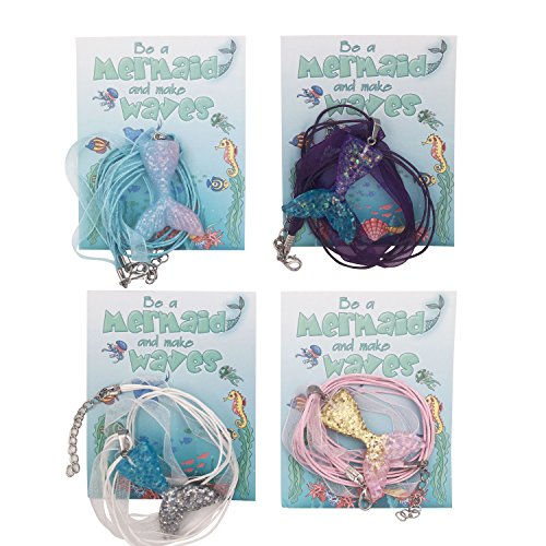 justBe 12 Mermaid Necklace Party Supplies Favors Gifts Handmade Glittery Pendants Individual Package - http://coolthings.us