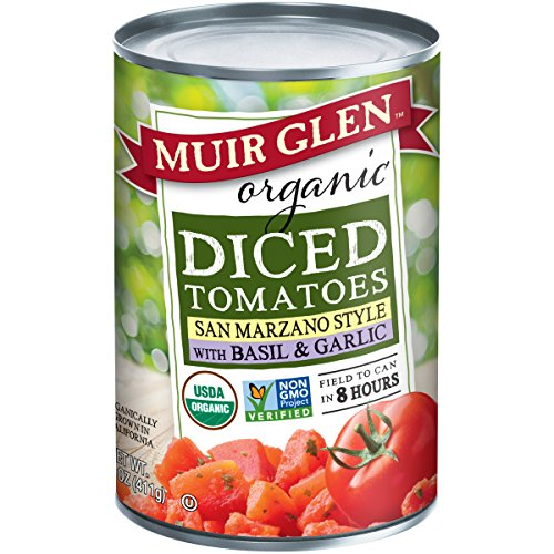 - Muir Glen Canned Tomatoes, Organic Diced Tomatoes with Basil & Garlic, San Marzano Tomatoes, No Sugar Added, 14.5 Ounce Can (Pack of 12)