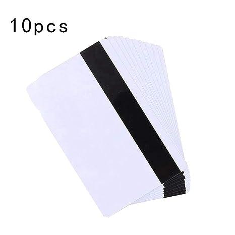 zhiwenCZW 10PCS Tarjeta de Banda magnética de PVC en Blanco ...