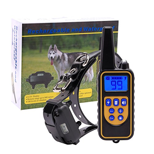 Cheap PetAZ Electronic Dog Training Collar,Rainproof and Rechargeable 800 Yards Range Remote 3 Modes Vibration/Shock/Beep Collar for Puppy,Small,Medium and Large Dog(10-120lbs) (lanxin)