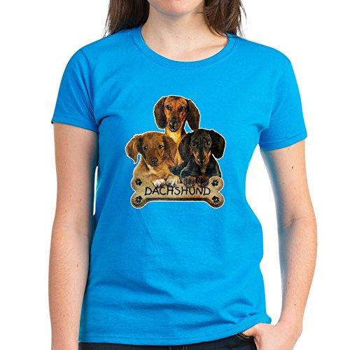 Royal Lion Women's Dark T-Shirt Dachshund Trio with Bone Name Plate - Caribbean Blue, Large