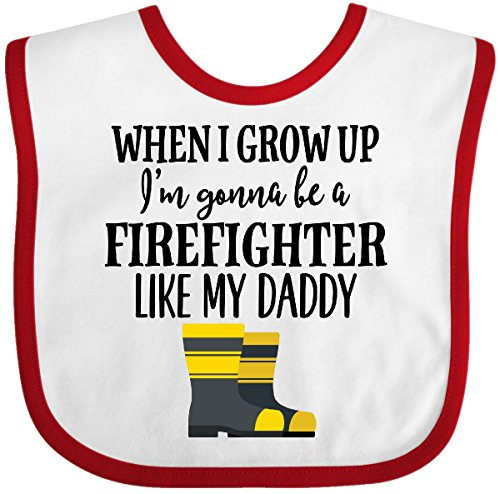 Inktastic - Future Firefighter Like Daddy Baby Bib White/Red - Baby Firefighter Bib Future