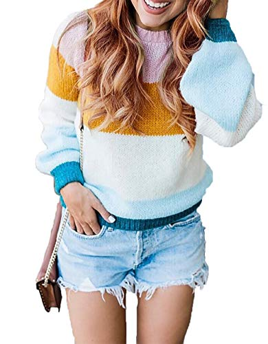 - HZSONNE Women's Casual Rainbow Oversized V Neck Chunky Color Block Stripe Cable Knitted Crew Pullover Sweaters