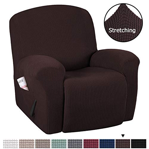 H.VERSAILTEX Recliner Sofa Cover 1-Piece Non Slip Soft High Stretch Lycra Jacquard Slipcover Form Fit Stretch Furniture Cover Recliner Sofa Slipcover Machine Washable - Chocolate