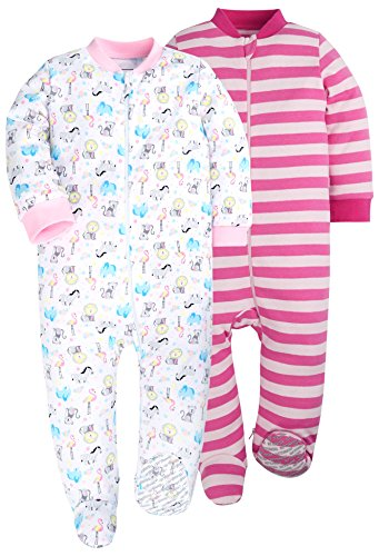 HONGLIN Baby Girls 2-Pack Footed Baby Pajamas Sleepers Rompers 100% Cotton with Non-Slipping Sole (Monkey 2 Pack, 6-9 Months)