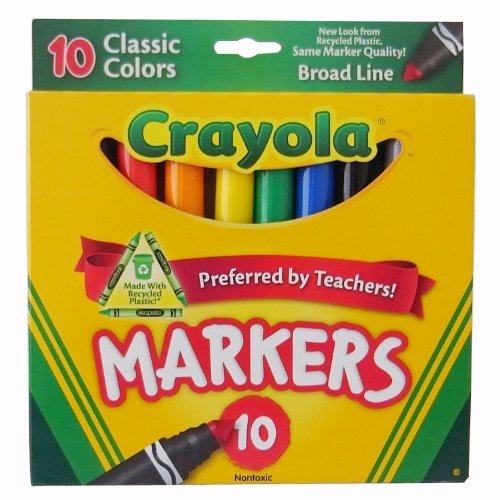 Crayola 10ct Classic Broad Line Markers Case of 24 packs - Hour Markers Case