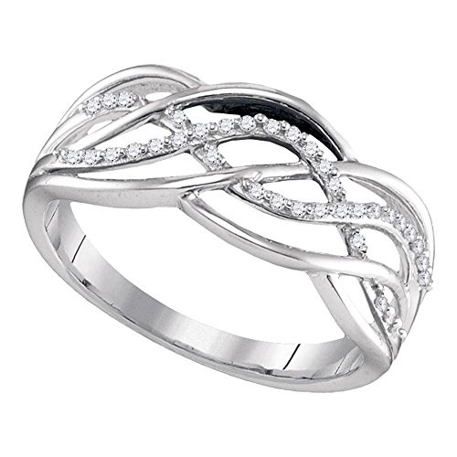 (Sterling Silver Fancy Diamond Band Cocktail Ring Weave Style Open Design Polished Finish 1/10 ctw Size 5)