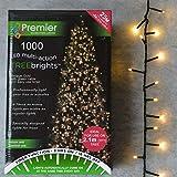 Premier Decorations 1000 LED Multi Action Christmas Tree Brights Vintage Gol