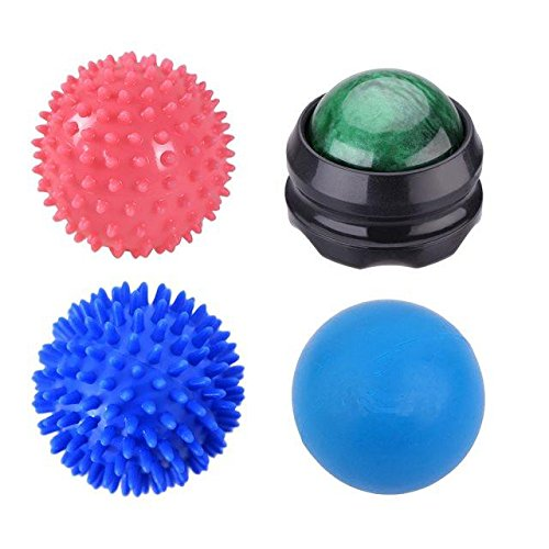 BeGrit 4Pcs Massage Ball Roller Set Lacrosse and Spiky Ball Combo Pack, Massage Balls Perfect for Trigger Point and Foot Massaging
