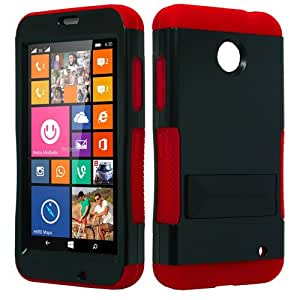 Black Red Shockproof Hybrid Gel Stand Fitted Case/Skin Cover for Nokia Lumia 635 + Accessory Kit