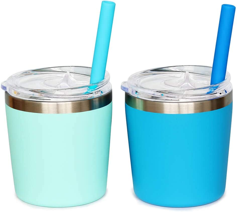 Colorful PoPo Cute Small Stainless Steel Mom and Kids Tumbler, Stackable Toddler Smoothie Cup with Lid and Silicone Straws, Set of 2 (Blue Mint, 8 OZ)