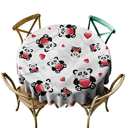 familytaste Panda,Tablecloths for Circular TableValentines Themed Toy Bears D 60