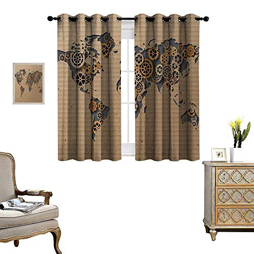 Modern Window Curtain Fabric Ancient Old Hipster Contemporary Image of World Map with Clock Wheel Art Print Drapes for Living Room W55 x L63 Grey and Brown
