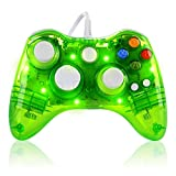xbox 360 led controller - Wired Game Controller for Microsoft Xbox 360 Console/PC Windows7/8/10 - Transparent Colorfull LED Lights (Green)