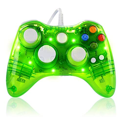 Wired Game Controller for Microsoft Xbox 360 Console/PC Windows7/8/10 - Transparent Colorfull LED Lights (Green)