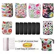 Lilbit New Baby Girl 6 Pcs Adjustable Cloth Diapers with 6 Pcs Bamboo Charcoal Inserts