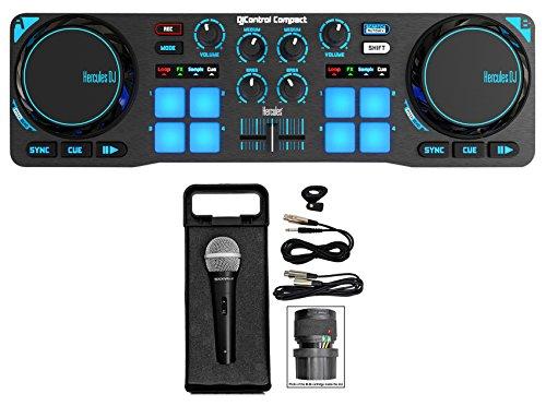 Hercules DJControl Compact USB 2-Deck DJ Controller Mixer+Free Microphone+Case ()