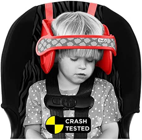 NapUp Child Car Seat Head Support - A Comfortable Safe Sleep Solution (Red).