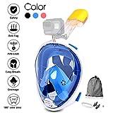 Jasonwell Máscara de Buceo 180 Grados de Vision Máscara de Snorkel de Cara Completa respirando Libre Anti - vaho y Anti - Fugas con Montaje de cámara para Adultos y Niños