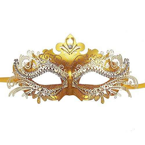 Fellibay Girls Masquerade Mask Venetian Filigree Mask Laser Cut Metal Masquerade for Halloween Costume Party (Gold) ()