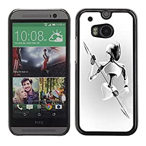 LECELL -- Funda protectora / Cubierta / Piel For HTC One M8 -- White Warrior --