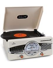 Auna MG-TT-82C Tocadiscos Retro • Lector de vinilos • Altavoces integrados • 33/45 RPM • AUX 3,5 mm • Radio FM/AM • RCA Stéreo • Accionamiento por correa • Beige