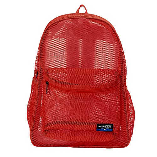 Heavy Duty Classic Student Mesh Backpack | Padded Straps | Red