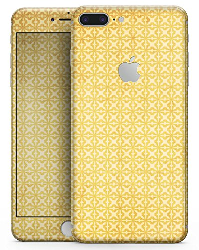 "Cross Yellow Pattern (Mustard Yellow Cross Pattern - Design Skinz Premium Full-Body Decal Skin-Kit for the Apple 5.5"" iPhone 8 Plus + / Soft-Touch Matte Finish)"