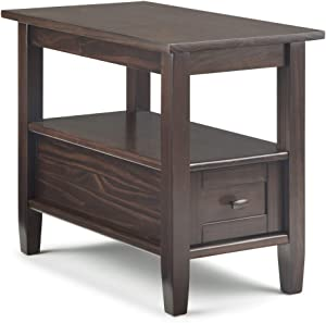 SIMPLIHOME Warm Shaker SOLID WOOD 14 inch wide Rectangle Rustic Contemporary Narrow Side Table in Tobacco Brown with Storage, 1 Drawer and 1 Shelf, for the Living Room and Bedroom