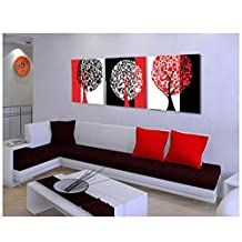 Babfaelry 3 Panels No Frame Modern Painting Abstract Black White Red Tree Picture Wall Art Decor Painting on Canvas Art HD Print Painting for Living Room 40*40cm