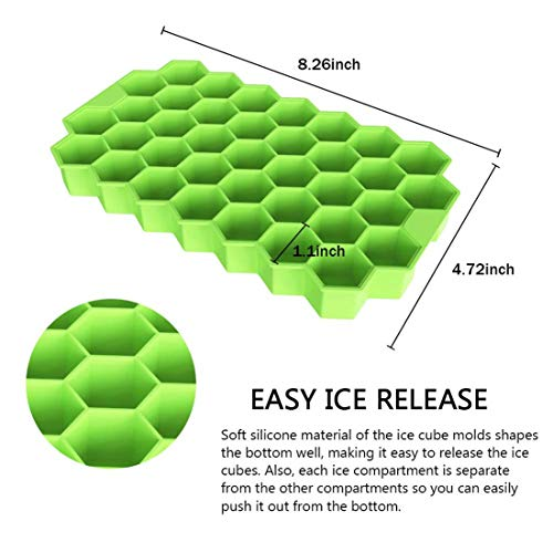 Ice Cube Trays, VISINTA 2 Pack Silicone Ice Cube Molds with Lid Flexible 74-Ice Trays BPA Free, for Whiskey, Cocktail, Stackable Flexible Safe Ice Cube Molds (Cover, Green)