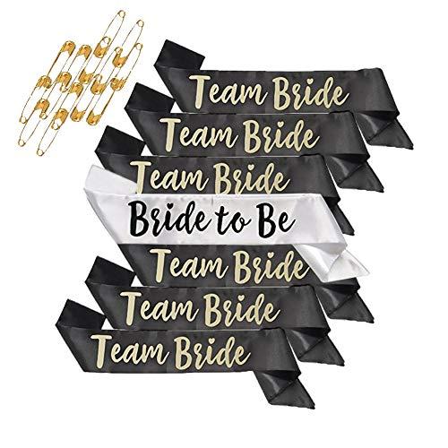 Bachelorette Sashes, Sash Set, Shellvcase 7Pcs Team Bride Bachelorette Party Sash Bride, Unique Sash for Bride and Bridesmaid Gift, Bonus 14 Pins -